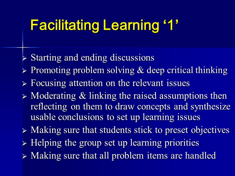 Facilitating Learning '1'