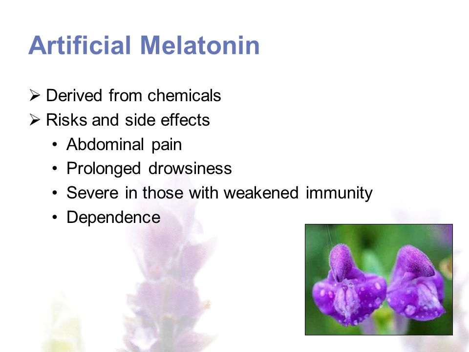 Artificial Melatonin Derived from chemicals Risks and side effects