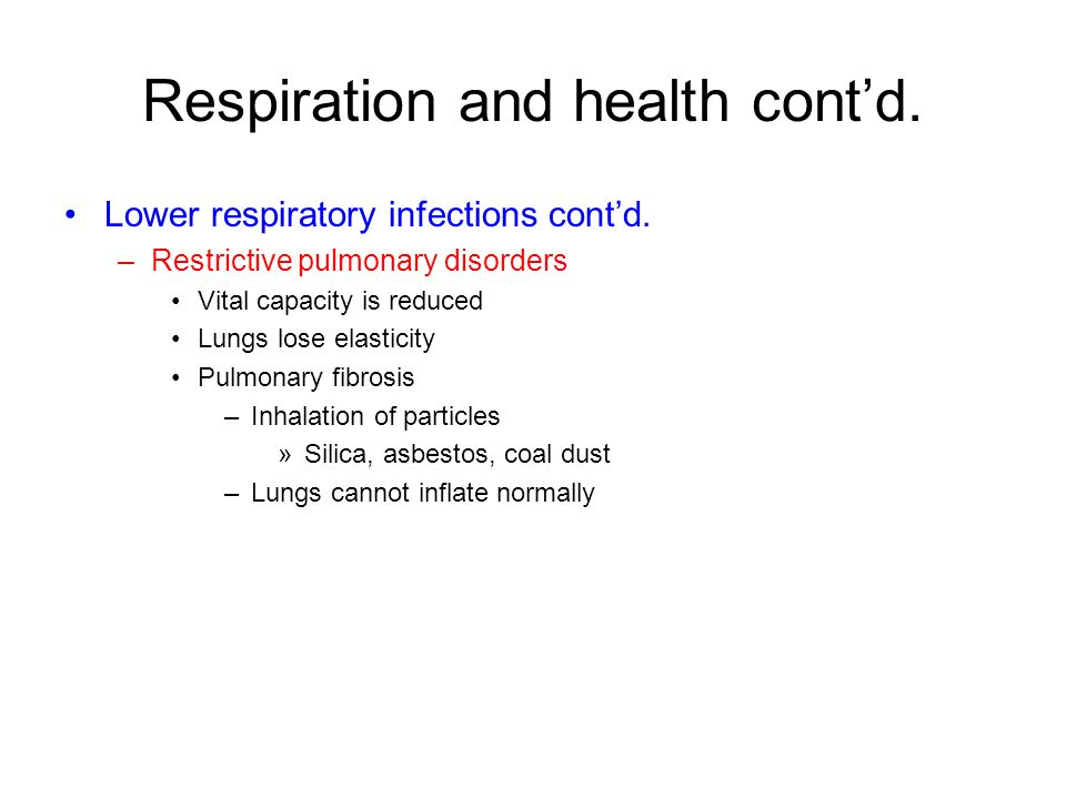 Respiration and health cont'd.