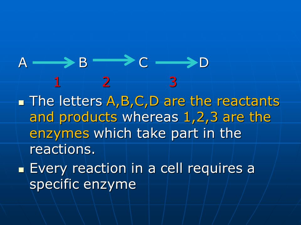 A B C D1 2 3. The letters A,B,C,D are the reactants and products whereas 1,2,3 are the enzymes which take part in the reactions.