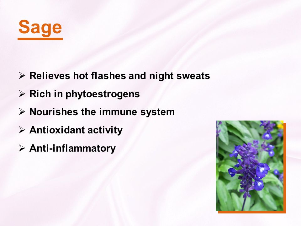 Sage Relieves hot flashes and night sweats Rich in phytoestrogens