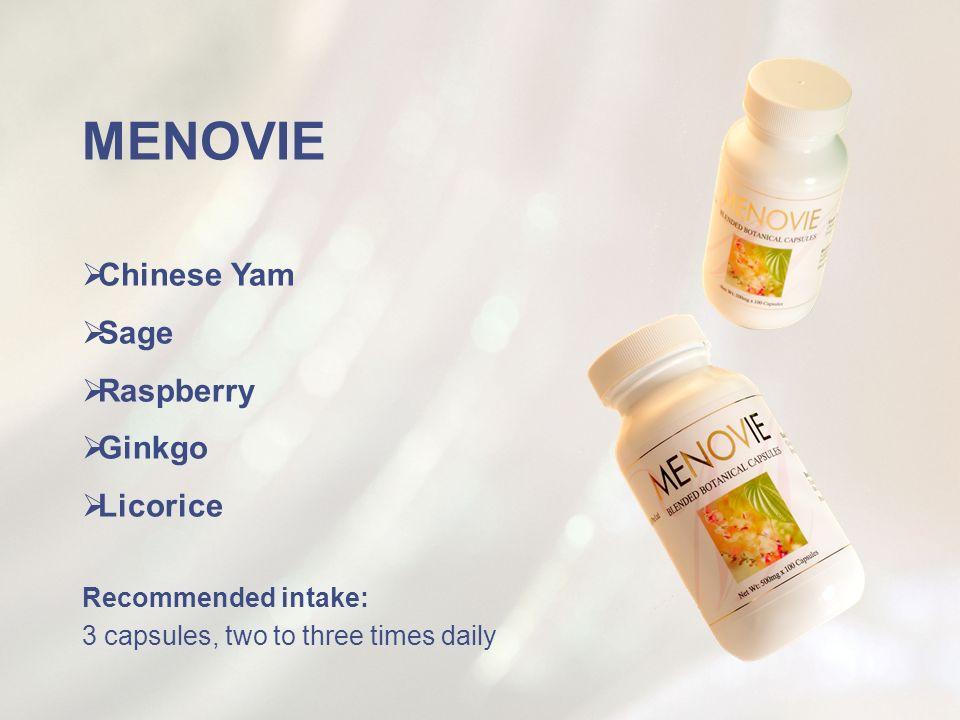 MENOVIE Chinese Yam Sage Raspberry Ginkgo Licorice Recommended intake: