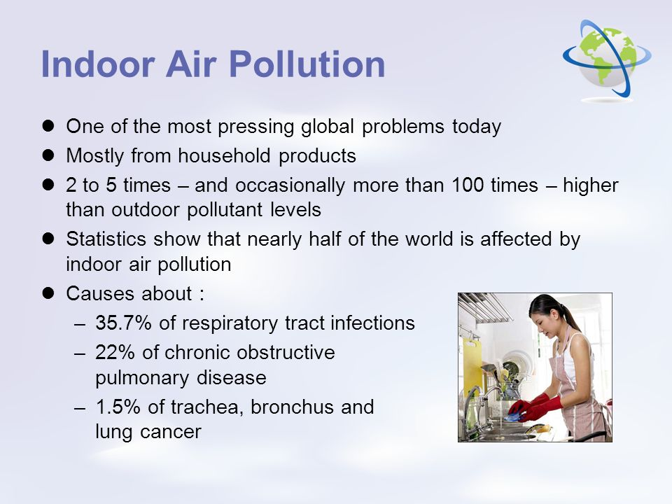 Indoor Air Pollution One of the most pressing global problems today