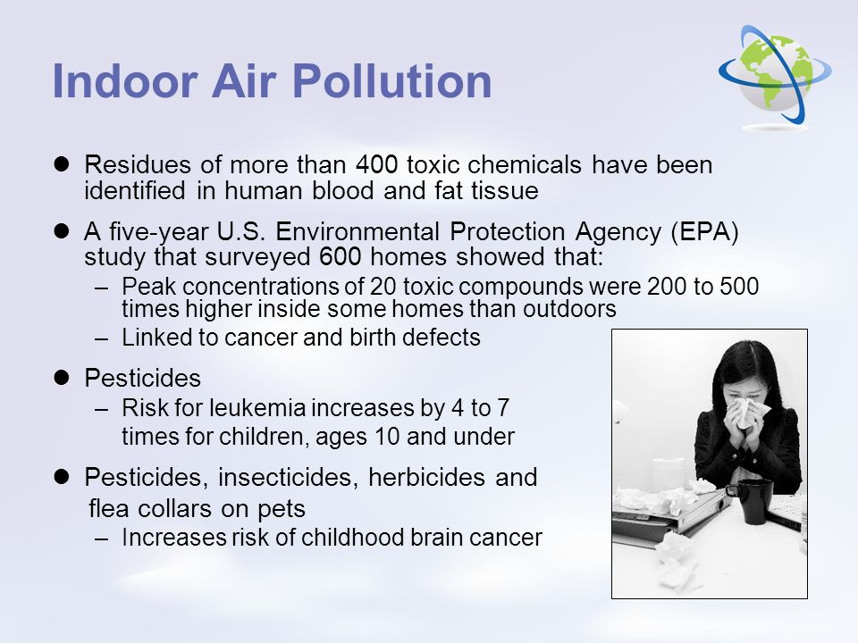 Indoor Air Pollution Residues of more than 400 toxic chemicals have been identified in human blood and fat tissue.