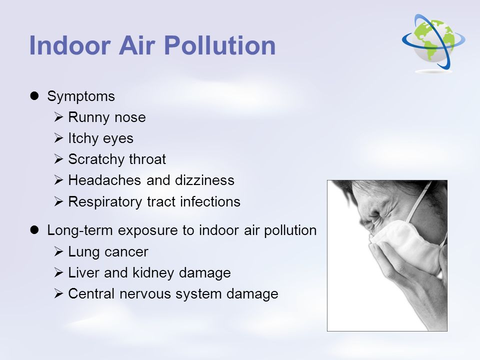 Indoor Air Pollution Symptoms Runny nose Itchy eyes Scratchy throat