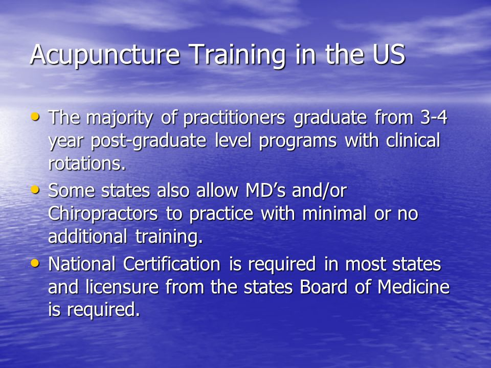 Acupuncture Training in the US
