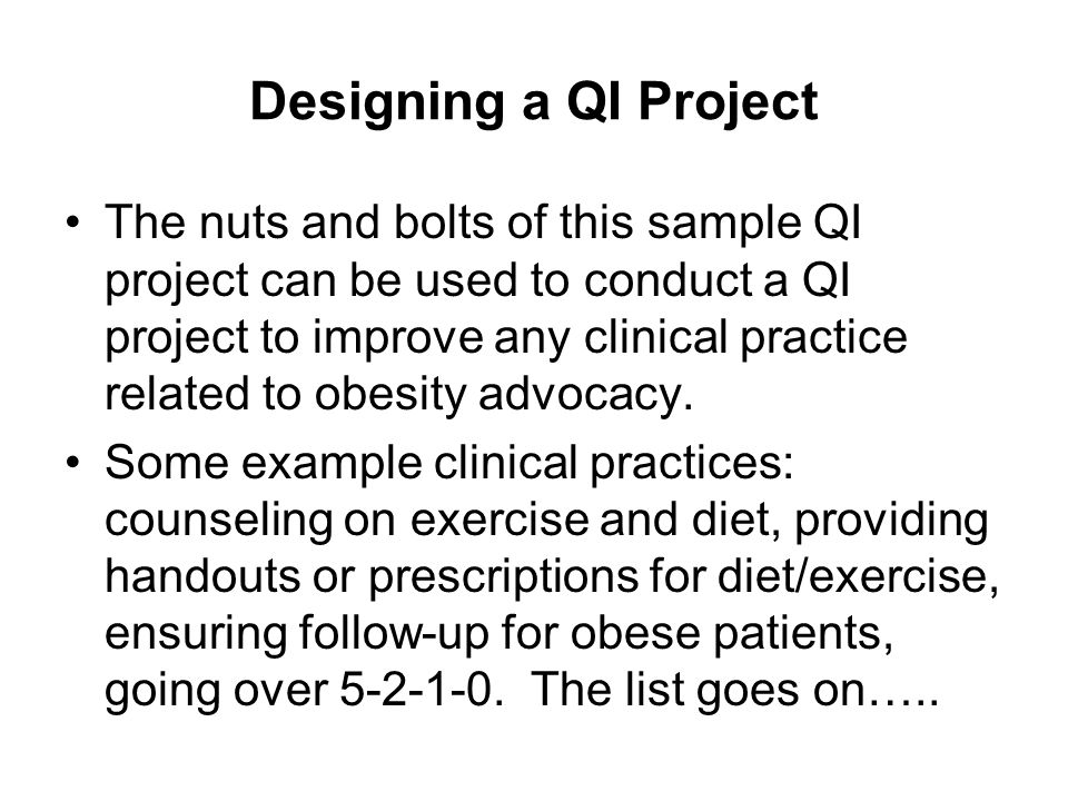 Designing a QI Project