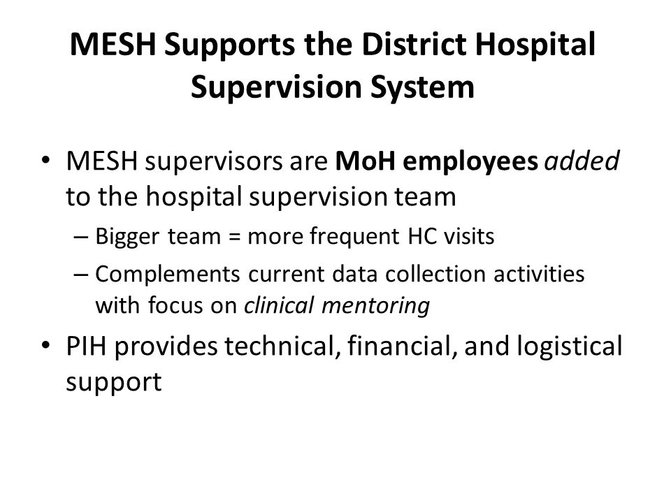 MESH Supports the District Hospital