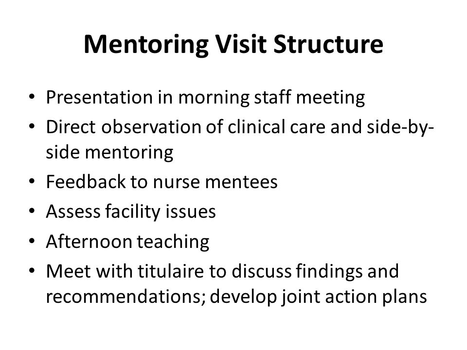 Mentoring Visit Structure