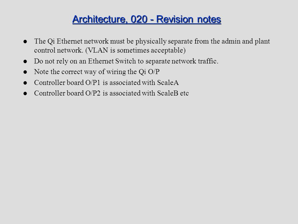 Architecture, 020 - Revision notes