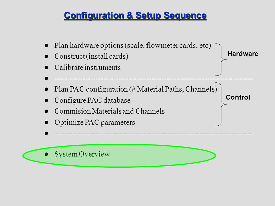 Configuration & Setup Sequence