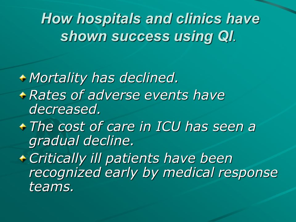How hospitals and clinics have shown success using QI.