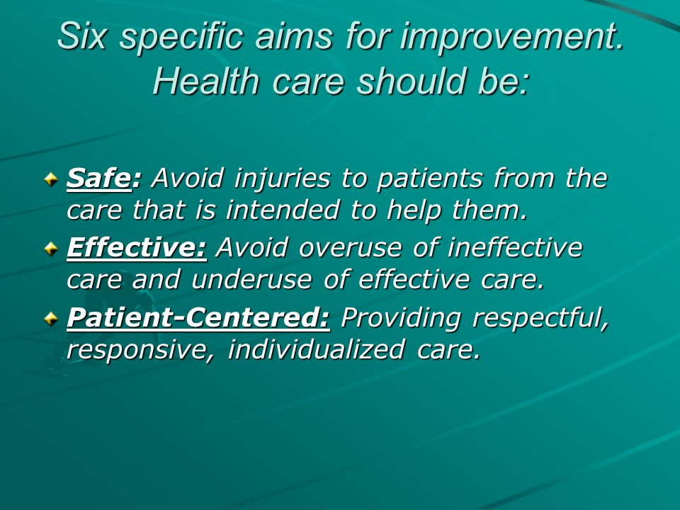 Six specific aims for improvement. Health care should be: