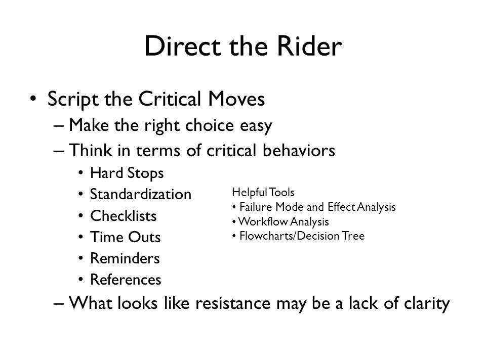 Direct the Rider Script the Critical Moves Make the right choice easy