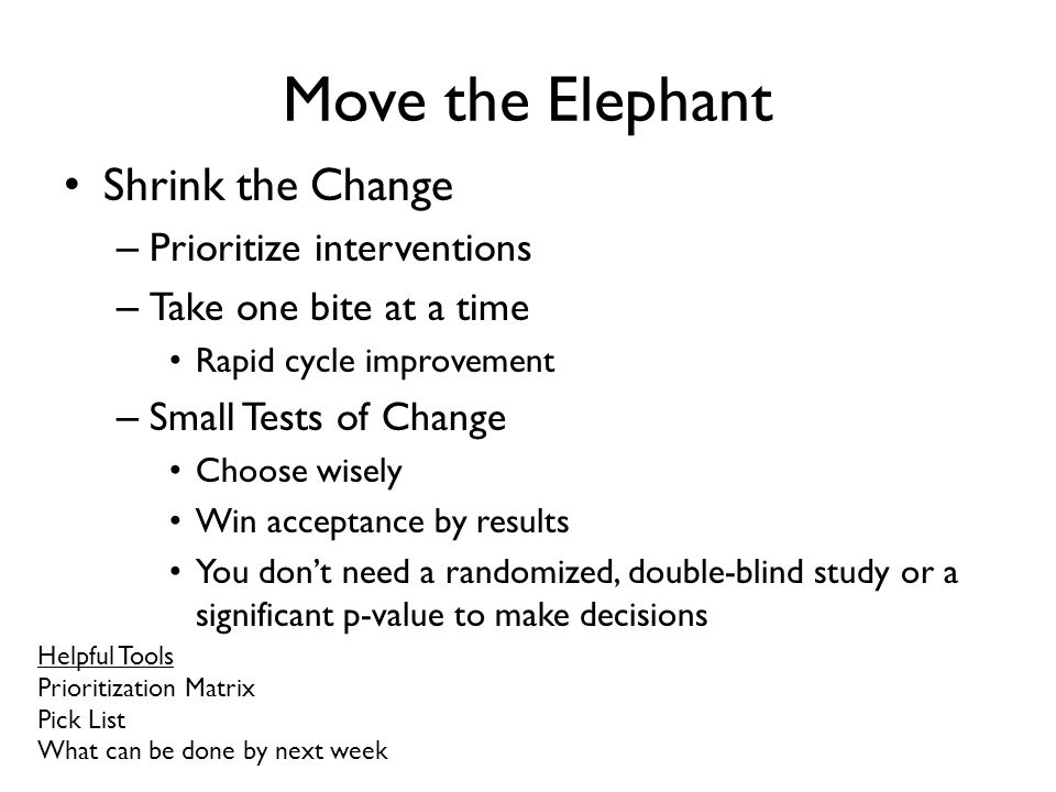 Move the Elephant Shrink the Change Prioritize interventions