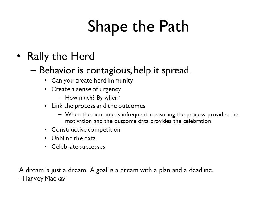 Shape the Path Rally the Herd Behavior is contagious, help it spread.