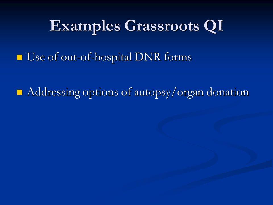 Examples Grassroots QI