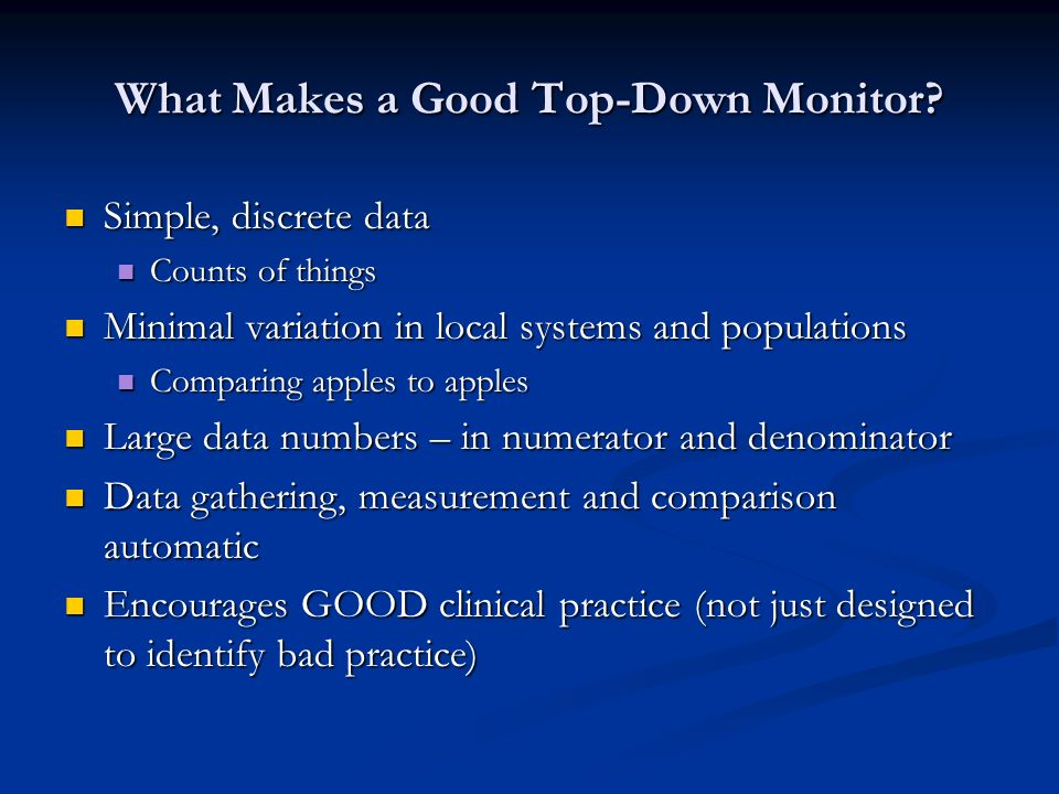 What Makes a Good Top-Down Monitor