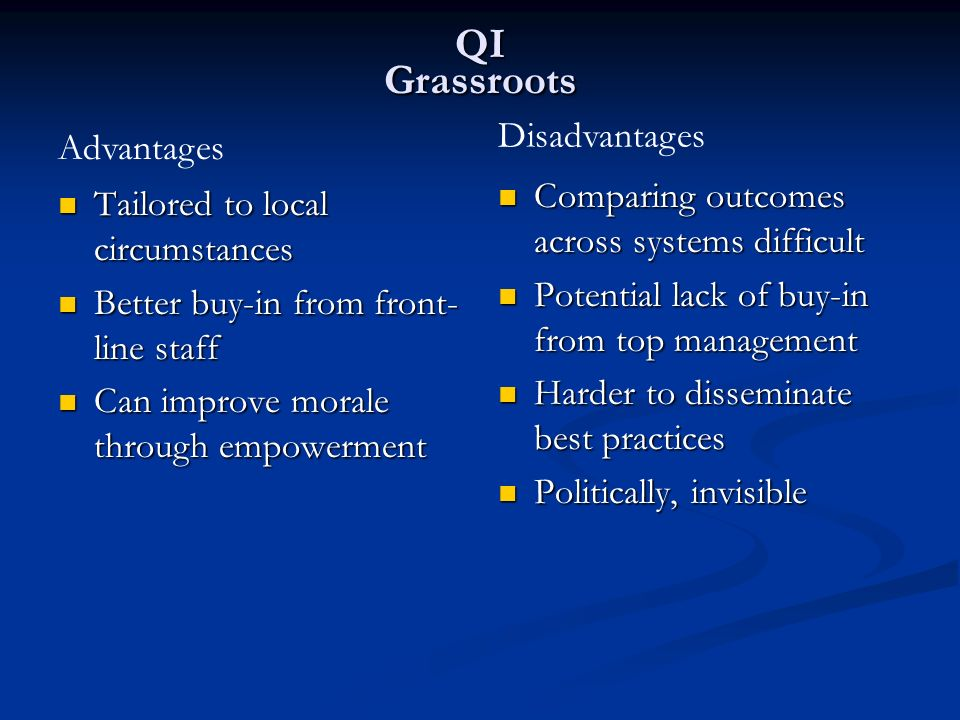 QI Grassroots Disadvantages Advantages