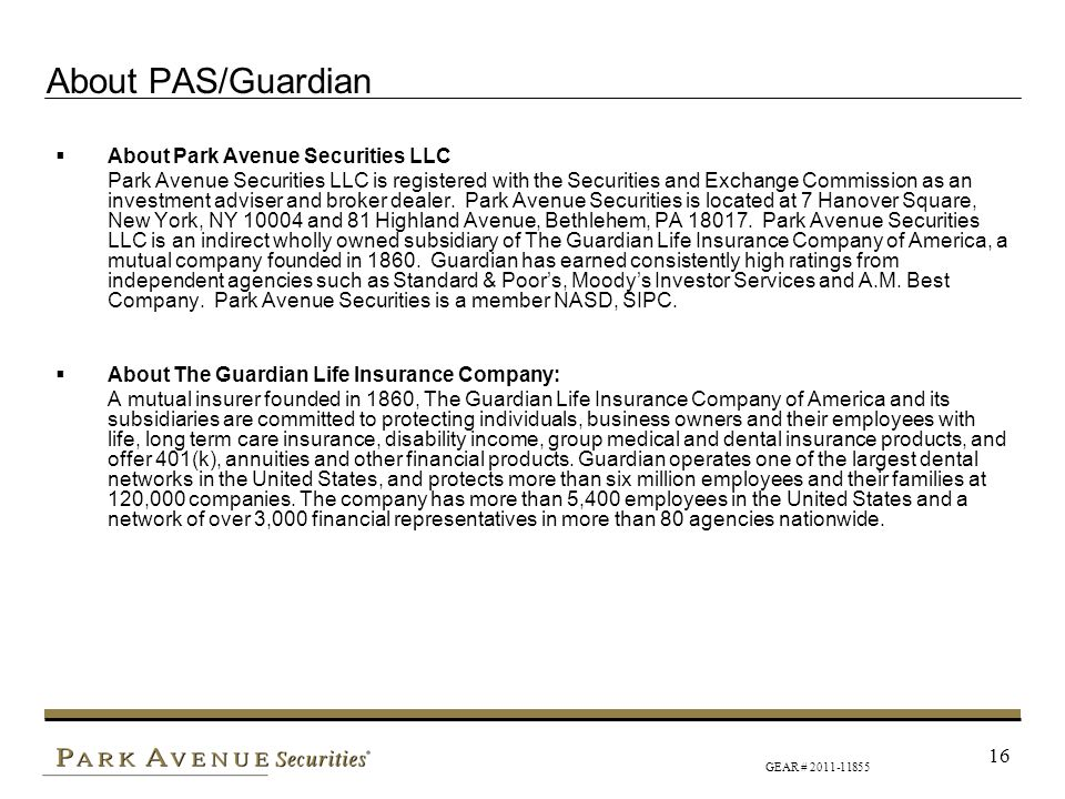 About PAS/Guardian About Park Avenue Securities LLC