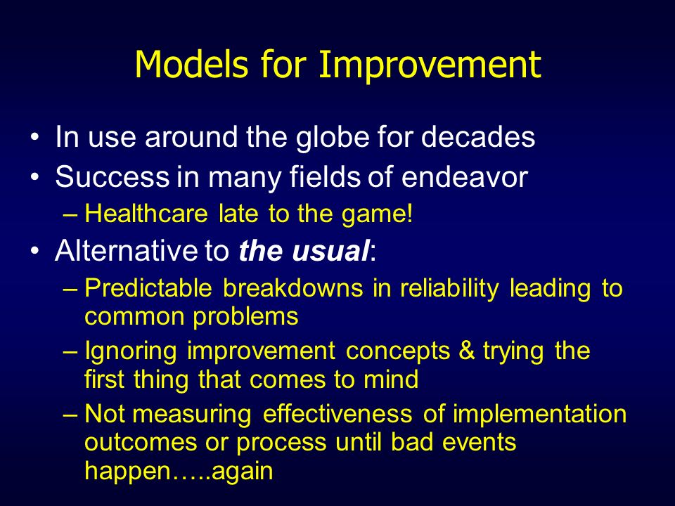 Models for Improvement