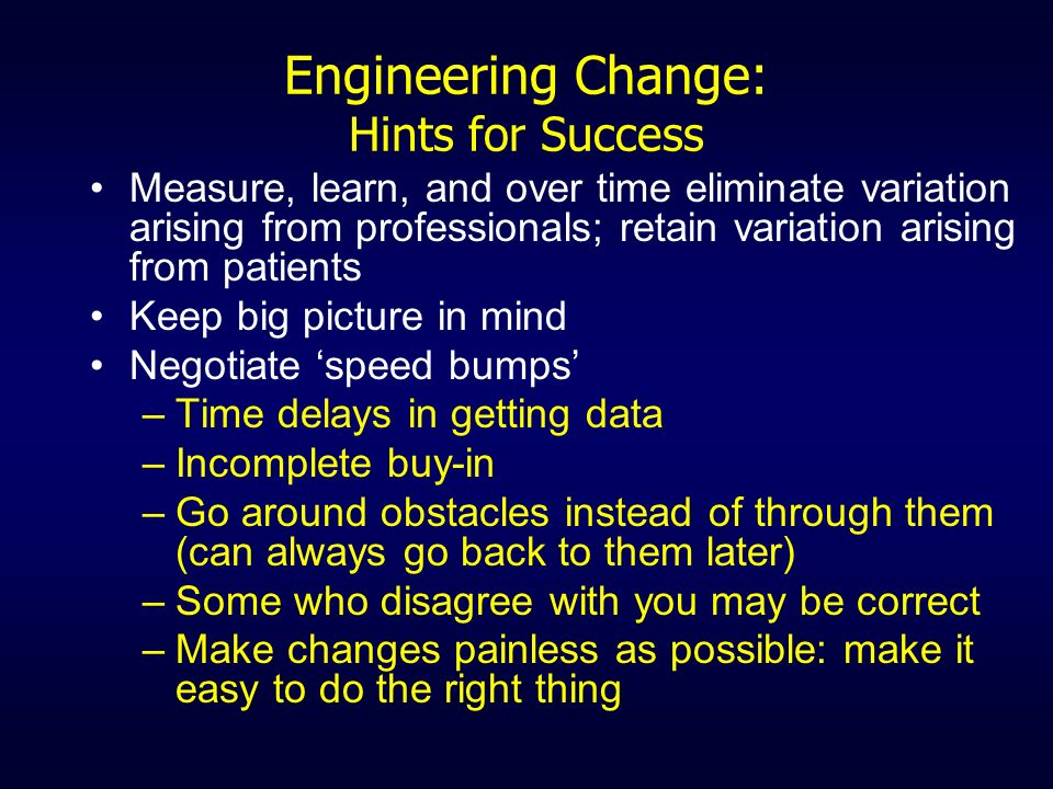 Engineering Change: Hints for Success