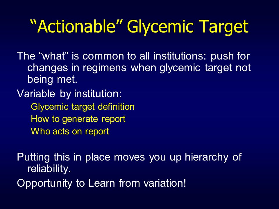 Actionable Glycemic Target