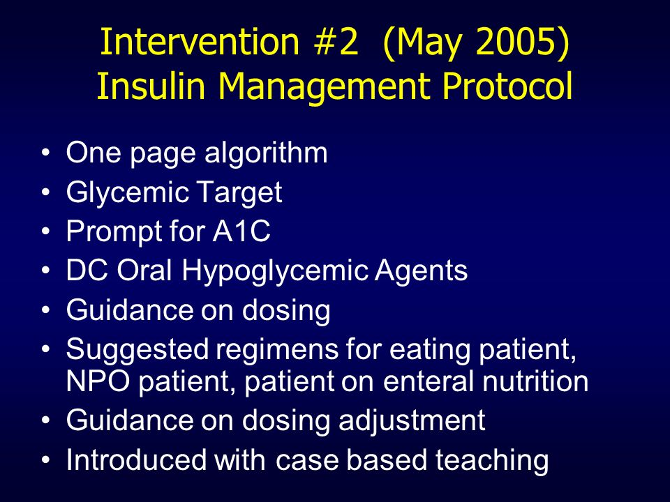 Intervention #2 (May 2005) Insulin Management Protocol