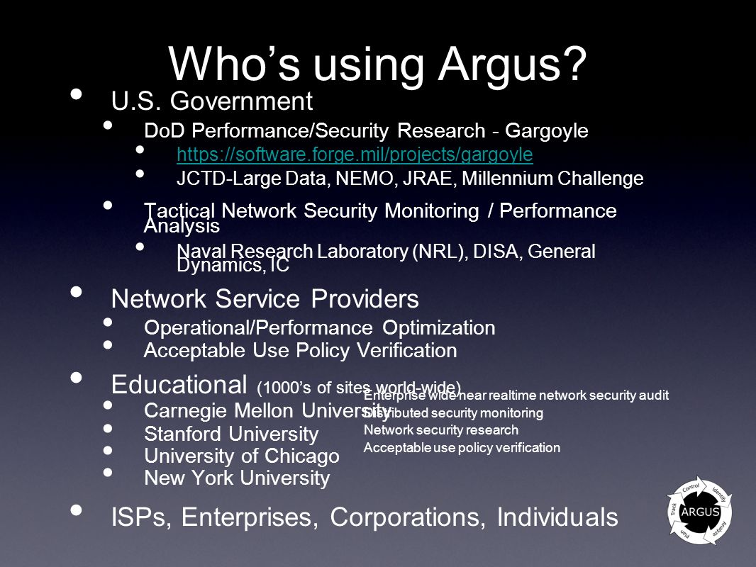 Who's using Argus U.S. Government Network Service Providers