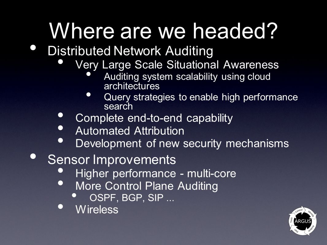 Where are we headed Distributed Network Auditing Sensor Improvements