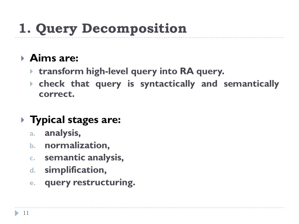 1. Query Decomposition Aims are: Typical stages are: