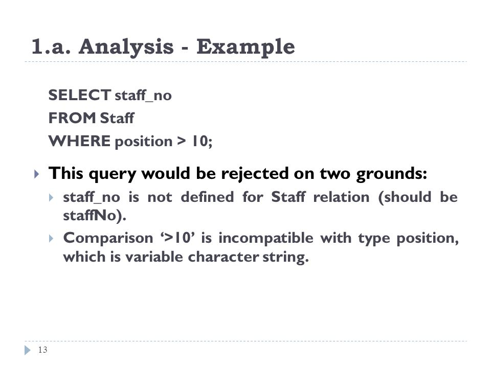 1.a. Analysis - Example This query would be rejected on two grounds: