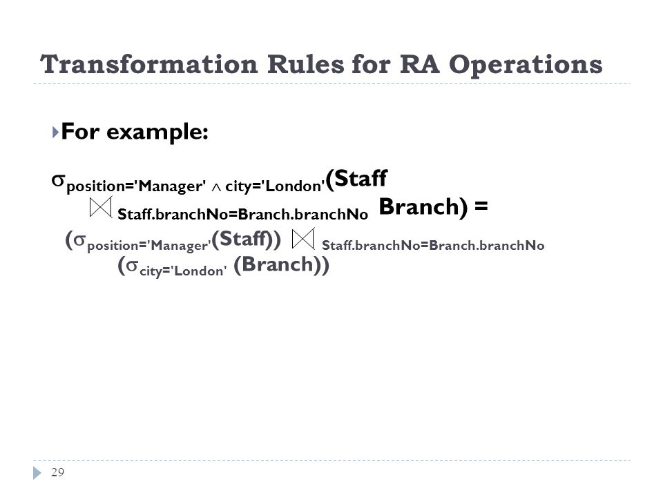 Transformation Rules for RA Operations