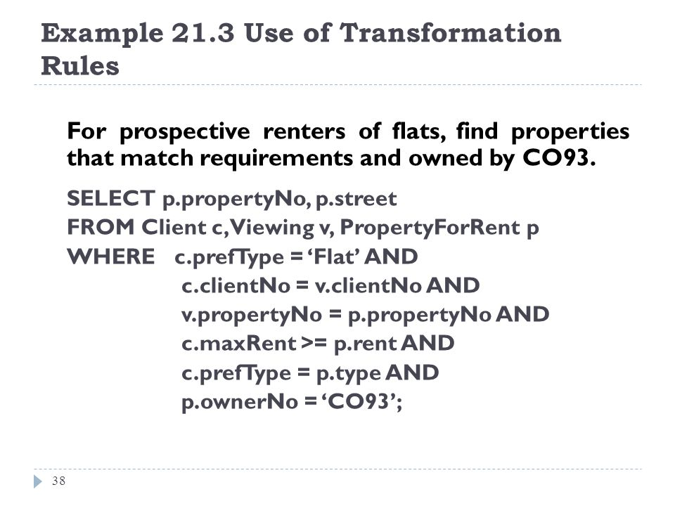 Example 21.3 Use of Transformation Rules