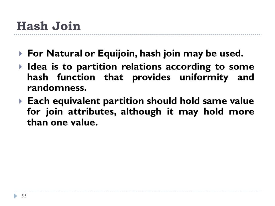 Hash Join For Natural or Equijoin, hash join may be used.