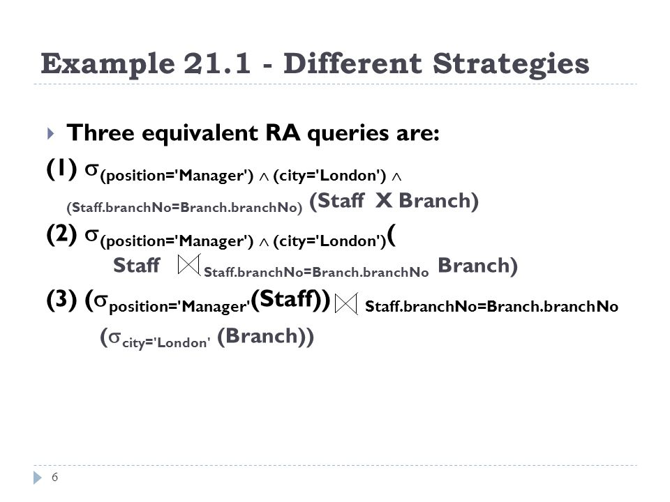 Example 21.1 - Different Strategies
