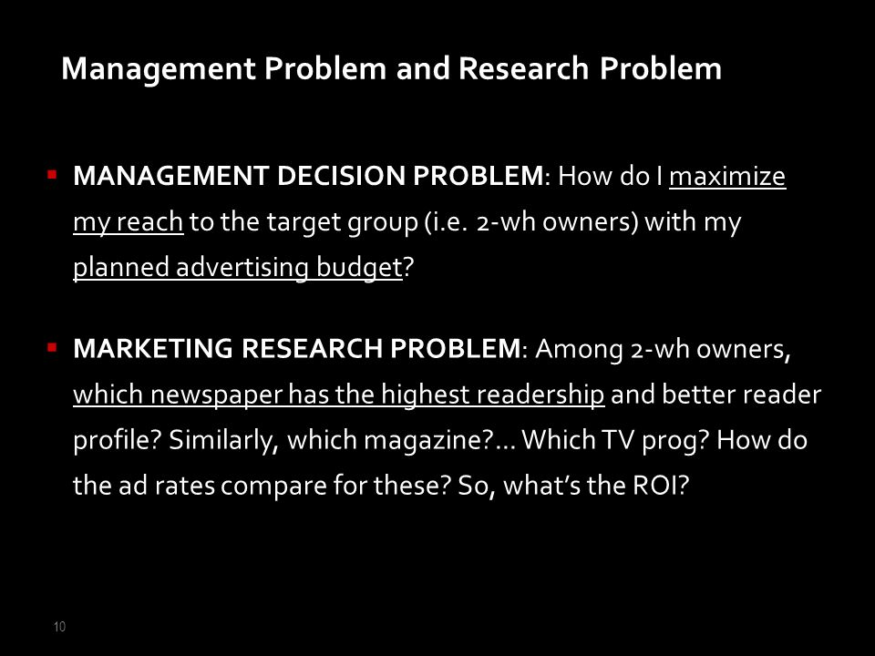 Management Problem and Research Problem