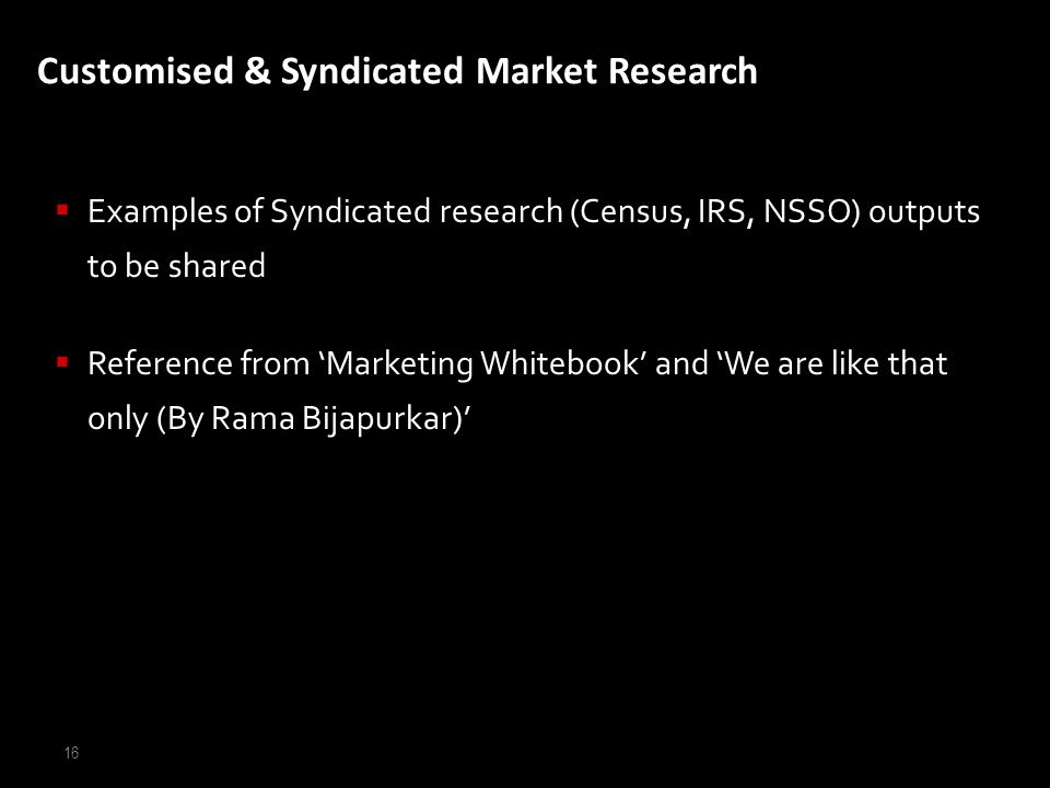 Customised & Syndicated Market Research