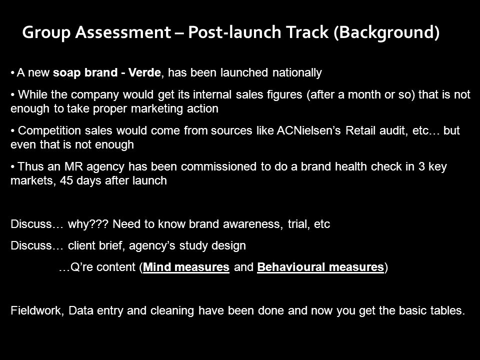 Group Assessment – Post-launch Track (Background)