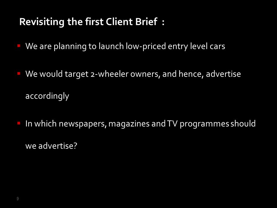Revisiting the first Client Brief :
