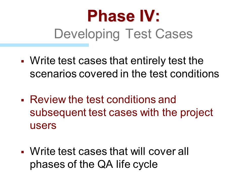 Phase IV: Developing Test Cases
