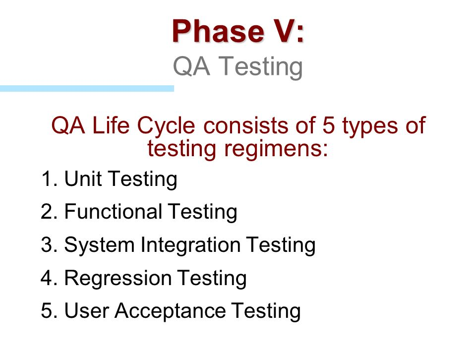 QA Life Cycle consists of 5 types of