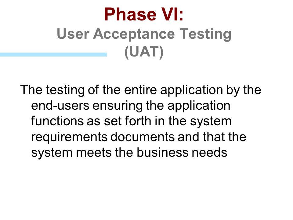 Phase VI: User Acceptance Testing (UAT)