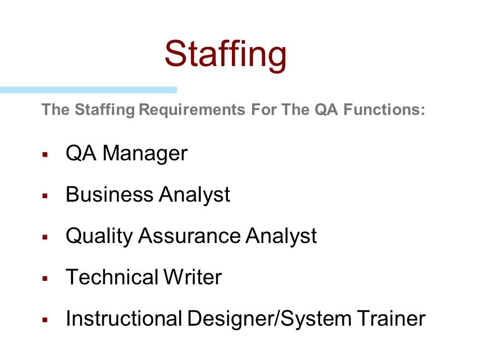Staffing QA Manager Business Analyst Quality Assurance Analyst
