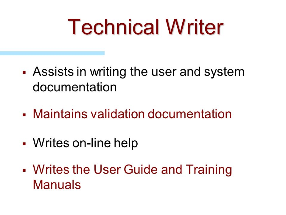 Technical Writer Assists in writing the user and system documentation