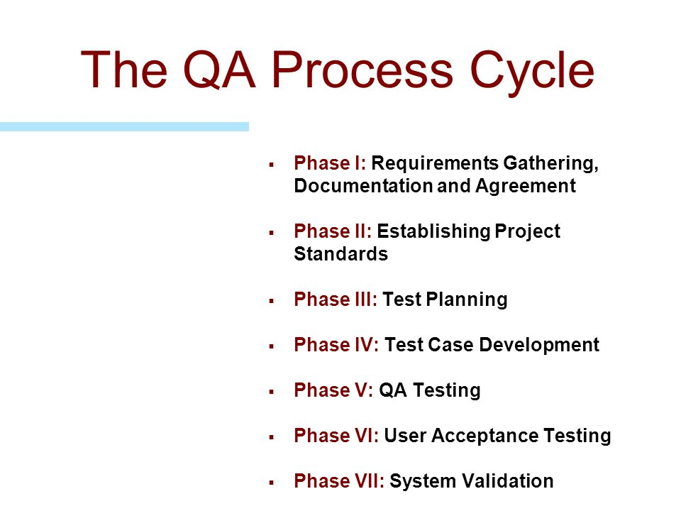 The QA Process Cycle Phase I: Requirements Gathering, Documentation and Agreement. Phase II: Establishing Project Standards.