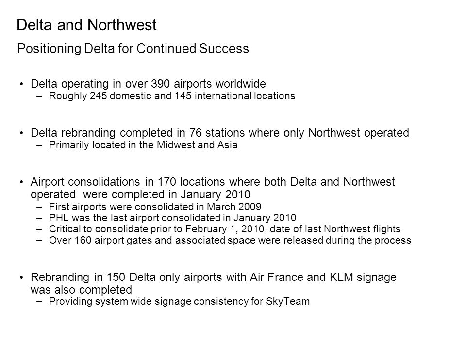 Delta and Northwest Positioning Delta for Continued Success