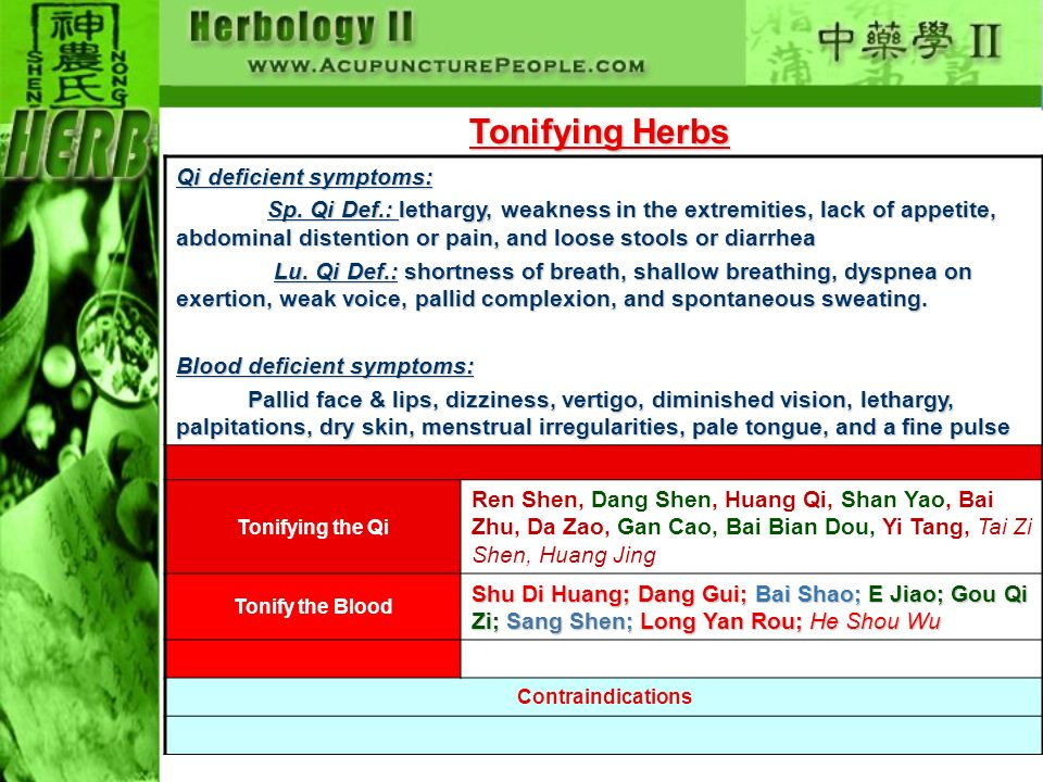 Tonifying Herbs Qi deficient symptoms: