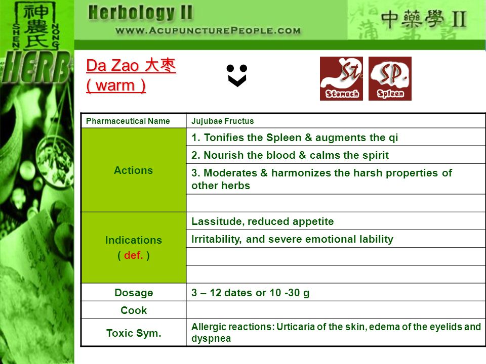 Da Zao 大枣 ( warm ) Actions 1. Tonifies the Spleen & augments the qi