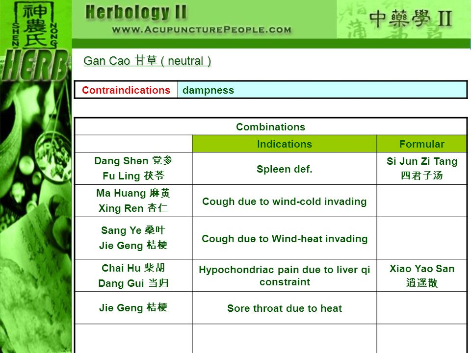 Gan Cao 甘草 ( neutral ) Contraindications dampness Combinations
